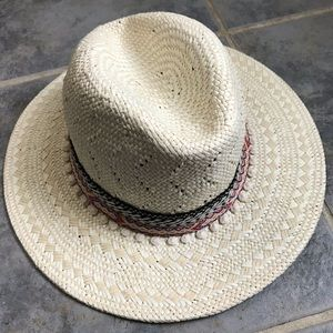 New Express Embroidered Straw Hat Fedora Cowboy